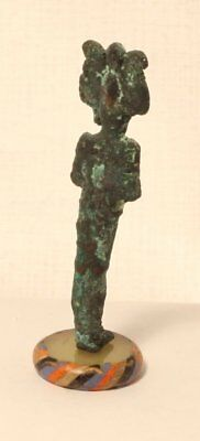 Ancient Egyptian Bronze Osiris figure standing on a Roman Glass bead