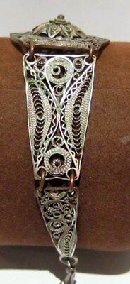 ANTIQUE 1800s.COPPER  BRACELET in 5 PARTS,AMAZING FILIGREE W/ SILVERED # 37 5