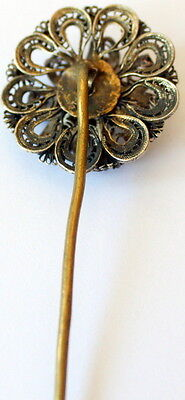 MAGNIFICENT ANTIQUE 1800s.GOLD PLATED AND SILVER PLATED FILIGREE JEWELRY PIN#46A 2