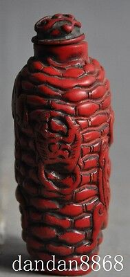 old Chinese Red Coral Hand-carved lucky Dragon Beast statue Snuff bottle 2