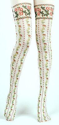 21df510b1a8 ... Retro Cream Red Floral Stripe Opaque Tights Lolita Victoriana Steampunk  Harajuku 2