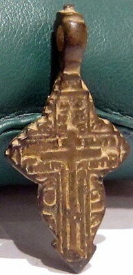 ATTRACTIVE ANTIQUE 1600-1800s. RUSSIAN ORTHODOX BRONZE CROSS  # 677 3