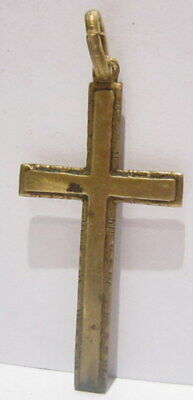 OUTSTANDING VINTAGE BRASS CROSS,ENGRAVING,EARLY 20th. Century !!! # 63A 3