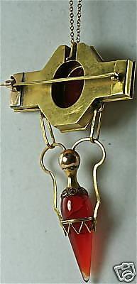 Victorian Antique 18K Gold Egyptian Scarab Pin Pendant 4
