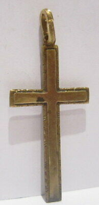 OUTSTANDING VINTAGE BRASS CROSS,ENGRAVING,EARLY 20th. Century !!! # 63A 2