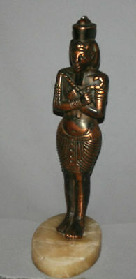 Vintage Hand Made Egyptian Pharaoh Metal Copper Plated Figurine Statuette 3