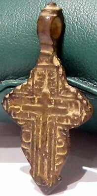 ATTRACTIVE ANTIQUE 1600-1800s. RUSSIAN ORTHODOX BRONZE CROSS  # 677 2