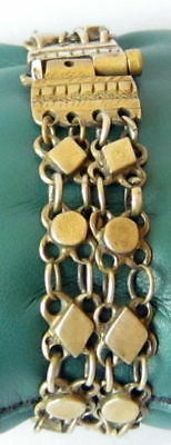 ANTIQUE 1800 s. SILVER KNITTED TWO ROWS LADY BRACELET WITH GOLD PLATED #  52C 5