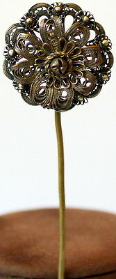MAGNIFICENT ANTIQUE 1800s.GOLD PLATED AND SILVER PLATED FILIGREE JEWELRY PIN#46A 7