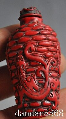 old Chinese Red Coral Hand-carved lucky Dragon Beast statue Snuff bottle 3