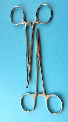 """Set of 2 Mosquito Forceps STR & CVD 5"""" Surgical Orthodontic Dental Instrument CE"""