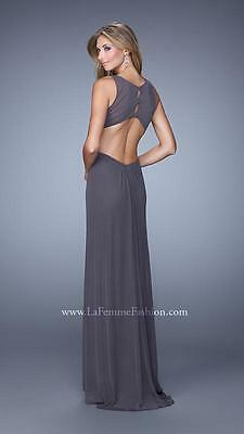 21187 Lafemme Gunmetal Gathered Evening Formal Party Prom Gown Dress Size USA 0 2