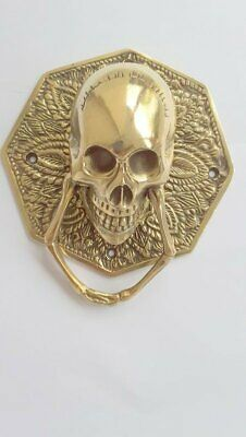 """door KNOCKER HEX head ring pull Handle pure brass 4"""" day of the dead polished 3"""