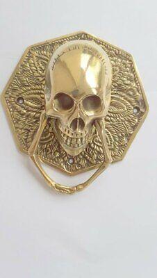 "heavy SKULL door KNOCKER head ring pull Handle pure brass 4"" day dead polished B 3"
