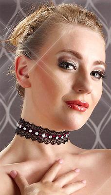 """Halsband Strass Spitze schwarz pink Modeschmuck Halskette Damen Kette """"Lorena"""" 2 • EUR 7,05"""