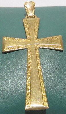 OUTSTANDING VINTAGE BRASS CROSS,ENGRAVING,EARLY 20th. Century !!! # 42A 3
