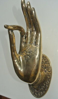 large Buddha Pull handle door Finger door HAND 25cm hook polished 100% brass B 2