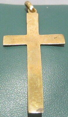 OUTSTANDING VINTAGE BRASS CROSS,ENGRAVING,EARLY 20th. Century !!! # 63A 7