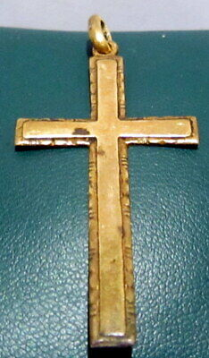 OUTSTANDING VINTAGE BRASS CROSS,ENGRAVING,EARLY 20th. Century !!! # 63A 5