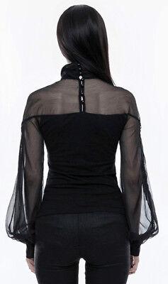 Top haut gothique lolita baroque manche bouffante voilage lacé fashion PunkRave 3