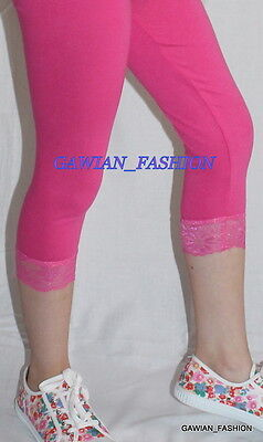 Girls 3/4 Length Cropped Leggings with Lace Hem 1 2 3 4 5 6 7 8 9 10 12 14 Years 12