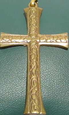 OUTSTANDING VINTAGE BRASS CROSS,ENGRAVING,EARLY 20th. Century !!! # 40A 4