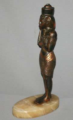 Vintage Hand Made Egyptian Pharaoh Metal Copper Plated Figurine Statuette 5