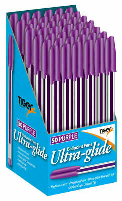 Ballpoint Pens Black/Blue/Red/Purple Ultra Glide Smooth Ink 1mm Medium Point Pen 5