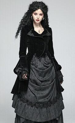 Train Velvet Coat Jacket Gothic Lolita Baroque Victorian Corset Lace PunkRave Bk