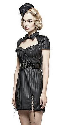 Robe gothique lolita pin-up militaire sexy cuir rayé rayures burlesque Punkrave