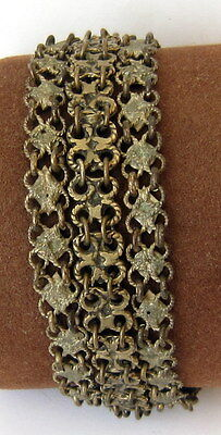 ANTIQUE 1800 s. SILVER KNITTED THREE ROWS LADY BRACELET  #  75A 8