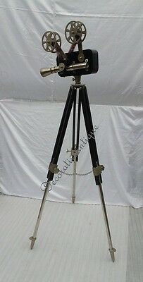Antique Black Reproduction Floor Camera Projector on Black & Metal Tripod Stand 2