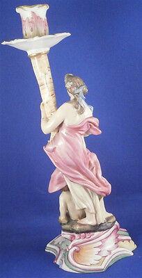 Rare 18thC Doccia Porcelain Lady Candle Stick Porzellan Candleholder Italy 5