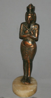 Vintage Hand Made Egyptian Pharaoh Metal Copper Plated Figurine Statuette 2