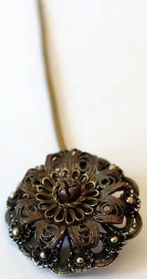 MAGNIFICENT ANTIQUE 1800s.GOLD PLATED AND SILVER PLATED FILIGREE JEWELRY PIN#46A 6