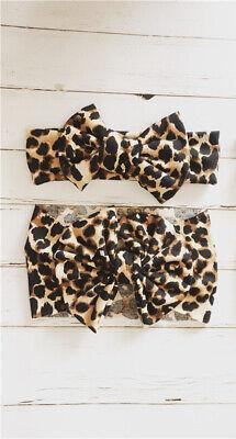 Newborn Baby Girls Leopard Bow Headband Infant Elastic Knot Hair Band Head Wrap 5