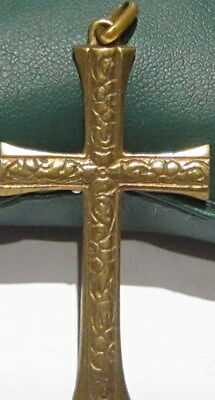 OUTSTANDING VINTAGE BRASS CROSS,ENGRAVING,EARLY 20th. Century !!! # 40A 2