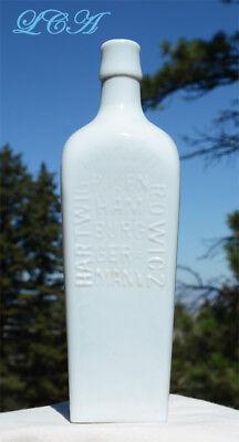 Beautiful WHITE MILK GLASS Berliner Magen BITTERS bottle CASE GIN shaped 2