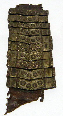 Lot of 10 pcs. Post medieval Silver Belt Mounts 16-18th,W/ Leather Cleaned # 160