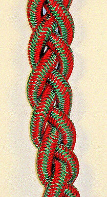US Military French WWII Fourragere Shoulder Cord for unit Red Green w//Brass Tip