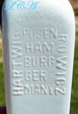 Beautiful WHITE MILK GLASS Berliner Magen BITTERS bottle CASE GIN shaped 3