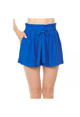 Women's Woven Paperbag High Waist Shorts Tie Belt Pockets Casual Solid Basics 10
