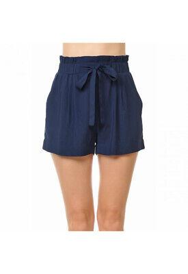 Women's Woven Paperbag High Waist Shorts Tie Belt Pockets Casual Solid Basics 8