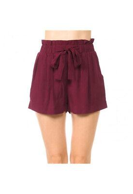 Women's Woven Paperbag High Waist Shorts Tie Belt Pockets Casual Solid Basics 6