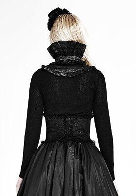 Top haut gothique lolita victorien steampunk jabot camée broderies Punkrave Noir 7