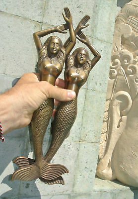 """PAIR large MERMAID solid brass door PULL old style heavy house handle 15"""" aged B 5"""