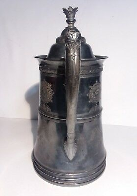 Reed Barton Ice Water Pitcher Seamless Lining Etched Silverplate Marked 1424 3