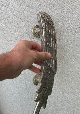 """used ANGEL WING 14"""" hollow SILVER plated over 100% real brass door pull handle 7"""