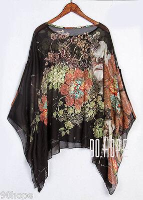 Uk Ladies Summer Chiffon Tunic Top Batwing Oversize Blose Shirt Size 16 18 20 22 8