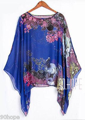 Uk Ladies Summer Chiffon Tunic Top Batwing Oversize Blose Shirt Size 16 18 20 22 4